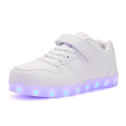 ZC Dawn Light Up Schuhe, 7 Farben-LED-Licht-Up Paar Sportschuhe Turnschuhe USB-Lade Zum Valentinstag Weihnachten Halloween,Weiß,2BigKid