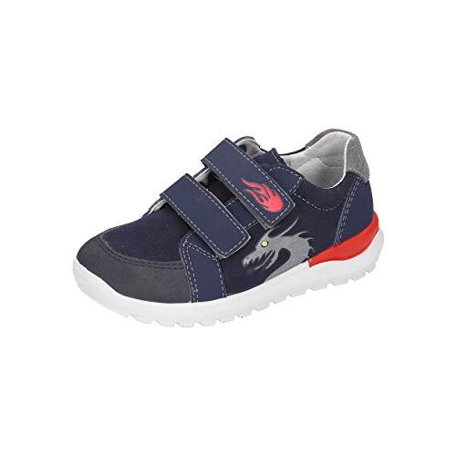 RICOSTA Jungen Sneaker Bobbi, Weite: Mittel (WMS),Blinklicht, detailreich Freizeit leger led licht Text sportschuh mid Cut,Nautic,32 EU / 13 Child UK