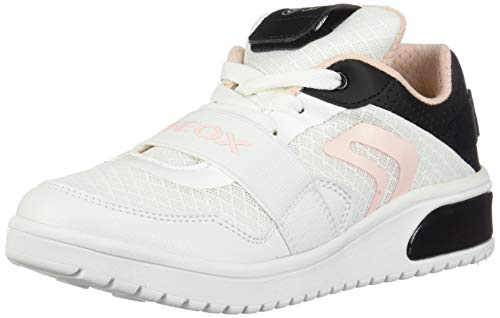 Geox XLED Girl J928DA Mädchen High-Top Sneaker,Kinder LED Licht Text,Schnürung,Sportschuh,Mid Cut Sneaker,White/Black,39