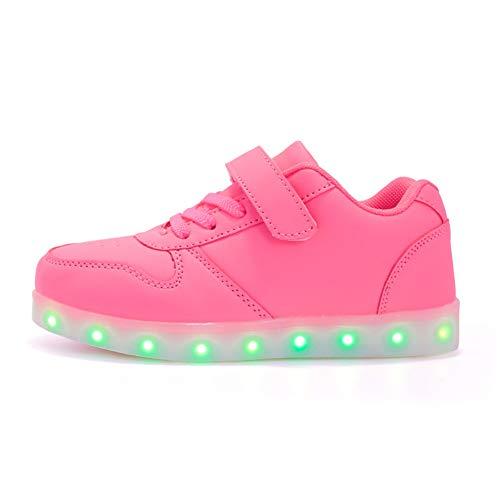 Bruce Wang Unisex Kinder LED Schuhe Leuchtschuhe USB Aufladen Licht Blinkschuhe Leuchtende Outdoor-Sportschuhe Sneaker Jungen Mädchen (27 EU, Pink)