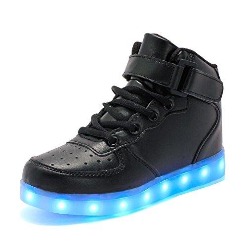 Rojeam Unisex Erwachsene High-Top LED Schuhe Sportschuhe USB Lade Outdoor Leichtathletik Beiläufige Paare Schuhe Sneaker Für Damen Herren Jungen Mädchen Kinder Schwarz 32 EU