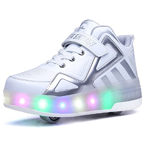 Unisex Kinder LED Rollschuh Schuhe mit Einstellbare Doppelräder LED Lichter blinken Skateboardschuhe Outdoor-Sportarten Gymnastik Rollerblades Sneaker für Mädchen Jungen (34 EU, Weiß 805)