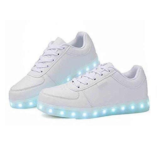 Frauen 7 Farben leuchten USB Aufladen LED Schuhe Walking Sneakers (EUR 39, Weiß)