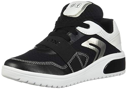 Geox XLED Boy J927QB Jungen High-Top Sneaker,Kinder LED Licht Text,Schnürung,Sportschuh,Mid Cut Sneaker,Black/White,35