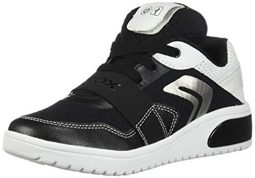 Geox XLED Boy J927QB Jungen High-Top Sneaker,Kinder LED Licht Text,Schnürung,Sportschuh,Mid Cut Sneaker,Black/White,36