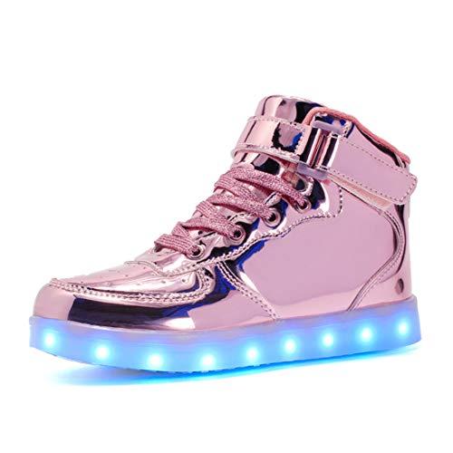 Voovix Kinder High-top LED Licht Blinkt Sneaker mit Fernbedienung-USB Aufladen Led Schuhe für Jungen und Mädchen (Rosa01, EU37/CN37)