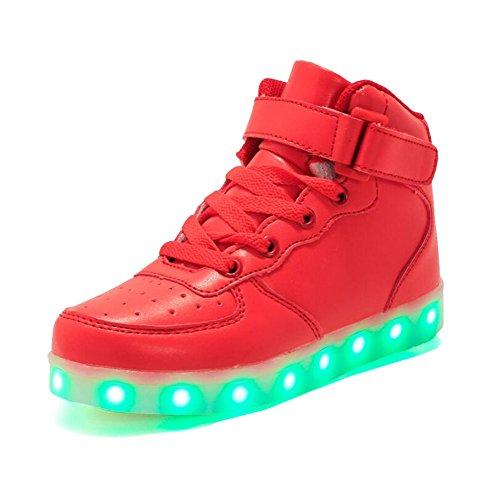 Rojeam Unisex Erwachsene High-Top LED Schuhe Sportschuhe USB Lade Outdoor Leichtathletik Beiläufige Paare Schuhe Sneaker Für Damen Herren Jungen Mädchen Kinder Rot 39 EU