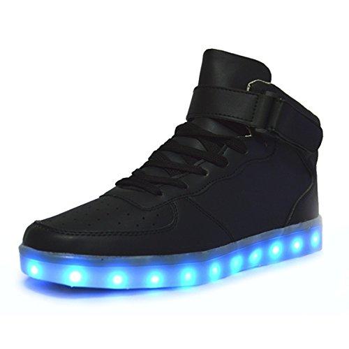 DoGeek Schuhe LED 7 Farbe USB Aufladen Leuchtend Sportschuhe Led Sneaker Turnschuhe Unisex-Erwachsene Herren Damen (Wählen Sie 1 größere Größe)