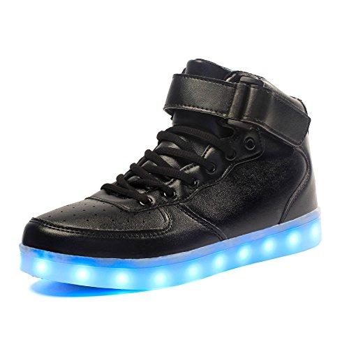 Voovix Kinder High-top LED Licht Blinkt Sneaker mit Fernbedienung-USB Aufladen Led Schuhe für Jungen und Mädchen(Schwarz, EU36/CN36)