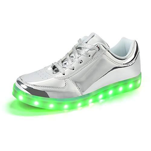 Padgene Damen Herren LED leuchtet Turnschuhe Low Top Blinken Trainer USB Ladekabel Spitze bis Paare Schuhe