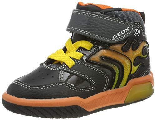 Geox Jungen J INEK Boy C Sneaker, Black/Orange, 28 EU
