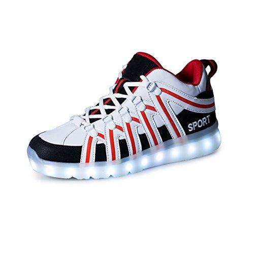 ON LED Schuh USB Aufladen 7 Farbe Leuchtend Sportschuhe Sneakers Turnschuhe Freizeit Schuhe Fuer Unisex-Erwachsene Herren Damen Kinder
