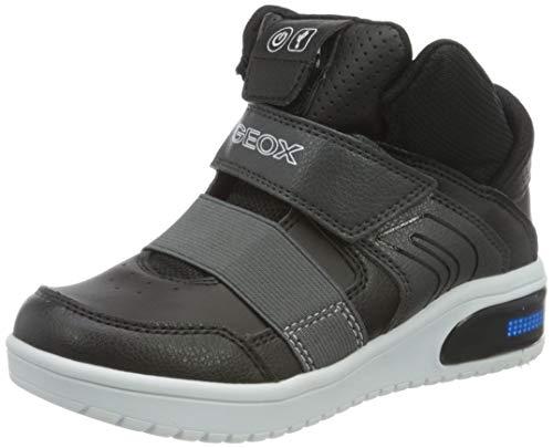 Geox Jungen High-Top Sneaker XLED Boy, Kinder Sneaker,LED Licht Text,Sportschuh,Mid Cut Sneaker,atmungsaktiv,SCHWARZ,32 EU / 13 UK Child