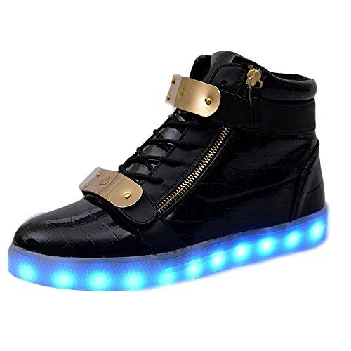 Padgene® Schuhe / Sneakers mit leuchtender Sohle, für Damen und Herren, aufladbar mit USB-Kabel, LED-Lichter, leuchten in 7Farben, schwarz, EU36/ UK3