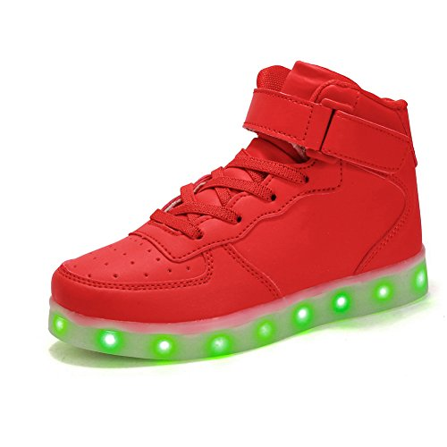 Voovix Kinder High-top LED Licht Blinkt Sneaker mit Fernbedienung-USB Aufladen Led Schuhe für Jungen und Mädchen (ROT, EU35/CN35)