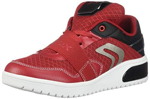 Geox XLED Boy J927QB Jungen High-Top Sneaker,Kinder LED Licht Text,Schnürung,Sportschuh,Mid Cut Sneaker,RED/Black,33