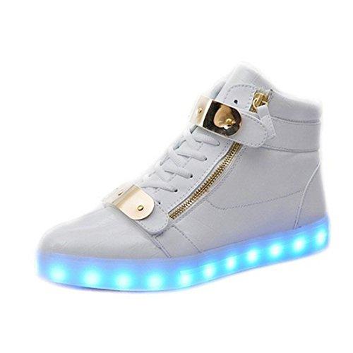 Padgene® Schuhe / Sneakers mit leuchtender Sohle, für Damen und Herren, aufladbar mit USB-Kabel, LED-Lichter, leuchten in 7Farben, weiß, EU 44/ UK 9