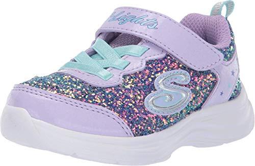 Skechers Mädchen Glimmer Kicks N' Glow Sneaker, Violett (Lavender Rock Glitter/Aqua & Pink Trim Lvaq), 27 EU