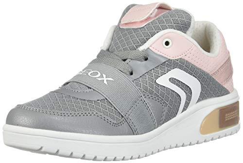 Geox XLED Girl J928DA Mädchen High-Top Sneaker,Kinder LED Licht Text,Schnürung,Sportschuh,Mid Cut Sneaker,Grey/LT Rose,37