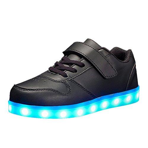 Voovix Unisex-Kinder Licht Schuhe mit Fernbedienung Led Leuchtende Blinkende Low-top Sneaker USB Aufladen Shoes für Mädchen und Jungen(Schwarz,EU34/CN34)
