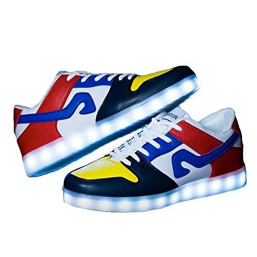 WSXZ Damen Herren Leuchten Sportschuhe, 7 Farben LED Schuhe,USB Aufladen Leuchtschuhe Leuchtende Sport Sneaker Dark Blue yellow-42