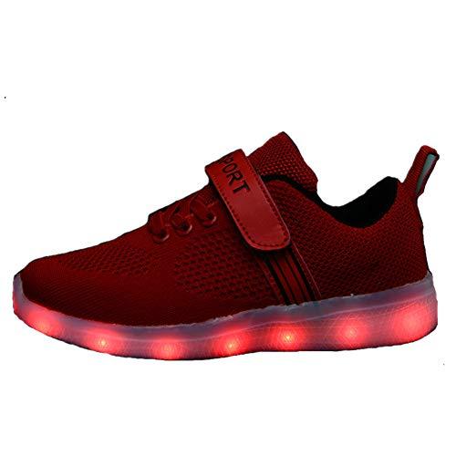 Skyeagle LED Schuhe Kinder Jungen Mädchen USB Aufladen Leuchtschuhe Licht Blinkschuhe Leuchtende Outdoor Sportschuhe Leichtgewicht Atmungsaktiv Outdoor Fitnessschuhe (36 EU, Rot)