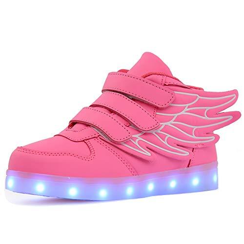 Skyeagle Jungen Mädchen Kinder 7 Farben LED Light up Schuhe USB Aufladen Sneaker Leuchtschuhe Blinkschuhe (27 EU, Pink)