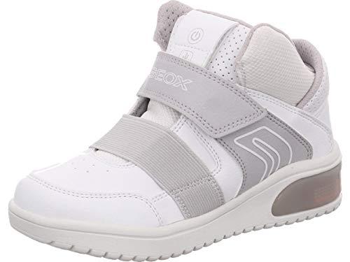 Geox XLED J847QA Jungen High-Top Sneaker,Kinder Stiefel,Sportschuh,Klettschuh,Sneaker-Stiefel,mid Cut, Doppelklett-Verschluss,Blinklicht,LED,Licht,White,EU 39