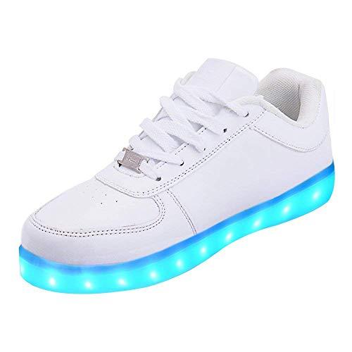LeKuni Unisex LED Schuhe Leuchtschuhe 2021 Verbesserung 7 Farbe Blinkende Leuchtende Light up Low Top Sneakers(Weiß,38)