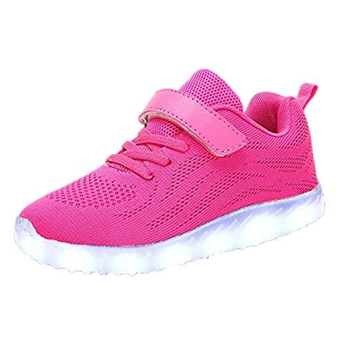 Skyeagle Unisex Kinder LED Schuhe USB Aufladen Leuchtschuhe Licht Blinkschuhe Leuchtende Outdoor-Sportschuhe Sneaker Für Jungen Mädchen (35 EU, Rot 026)