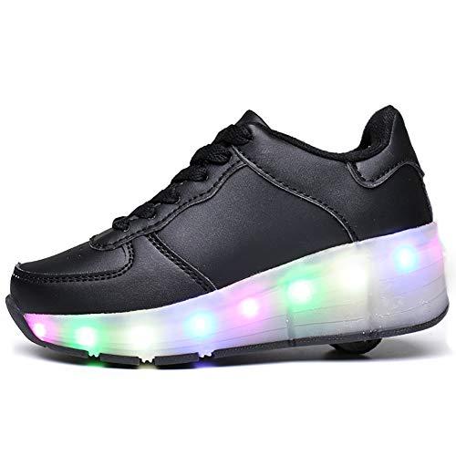 JIAOJIAO 7 Farben LED Schuhe Leuchtschuhe Licht Blinkschuhe Leuchtende Sport Sneaker Urnschuhe Damen Herren Kinder Shoes Skating Schuhe Fur Kinder,Schwarz,32