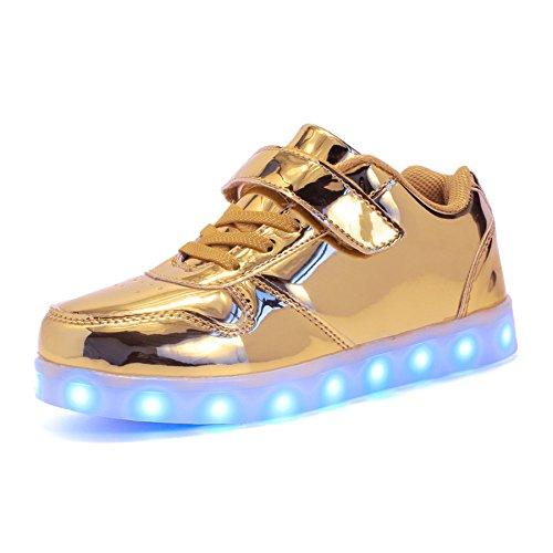 Voovix Unisex-Kinder Licht Schuhe mit Fernbedienung Led Leuchtende Blinkende Low-top Sneaker USB Aufladen Shoes für Mädchen und Jungen(Gold,EU37/CN37)