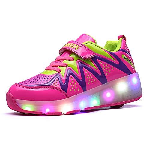 Bruce Wang Unisex-Kinder LED Licht Auf Einzelne Doppelrad Roller Schuhe Outdoor Sports Training Skate Turnschuhe Retractable Technical Skateboarding Laufsportschuhe (33 EU, Pink (einzeln) 8082)