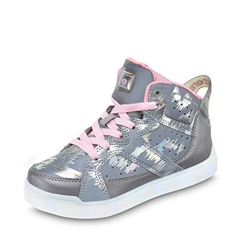 Skechers 20090L Mädchen LED-Bootie in Camouflage-Optik Textilfutter USB-Kabel, Groesse 35, Silber