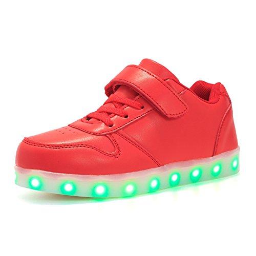 Voovix Unisex-Kinder Licht Schuhe mit Fernbedienung Led Leuchtende Blinkende Low-top Sneaker USB Aufladen Shoes für Mädchen und Jungen(Rot,EU28/CN28)