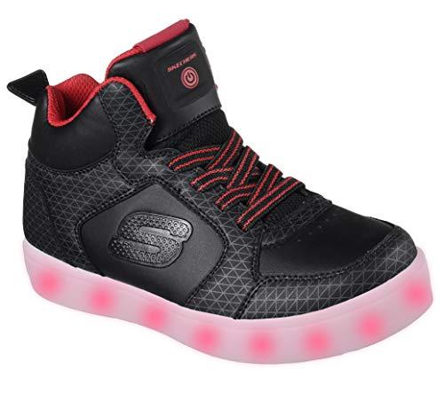 Skechers Jungen Energy Lights Tarvos Sneaker, Schwarz (Black/Red), 36 EU