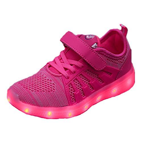 Skyeagle Unisex Kinder LED Schuhe USB Aufladen Leuchtschuhe Licht Blinkschuhe Leuchtende Outdoor-Sportschuhe Sneaker Für Jungen Mädchen (30 EU, Pink 1802)
