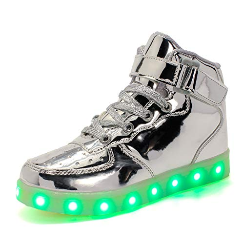 Skyeagle Damen Herren Kinder 7 Farben LED Light up Schuhe USB Aufladen Sneaker Leuchtschuhe Blinkschuhe High-Top Schuhe für Jungen und Mädchen (42 EU, Silber)
