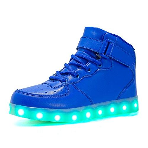 Voovix Kinder High-top LED Licht Blinkt Sneaker mit Fernbedienung-USB Aufladen Led Schuhe für Jungen und Mädchen (Blau,36)