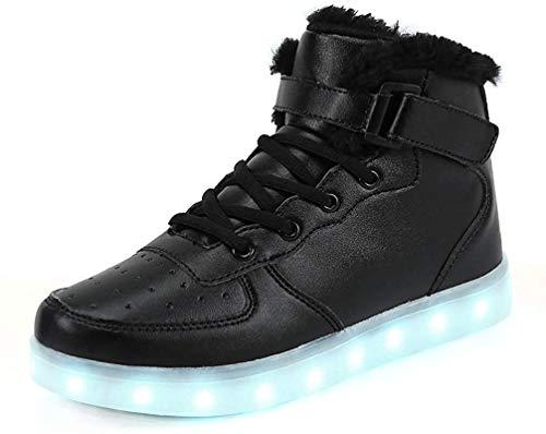 FLARUT 7 Farben LED Schuhe USB Aufladen Leuchtschuhe Licht Blinkschuhe Leuchtende Sport Sneaker Light Up Turnschuhe Damen Herren Kinder (30 EU, Schwarzes Fell)