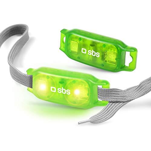 SBS Sicherheitslicht für Schnürsenkel - LED Licht für Schnürsenkel - Blinklicht synchron mit Schrittrequenz - Ideal zum Laufen, Joggen, Nachtjogging, Wandern