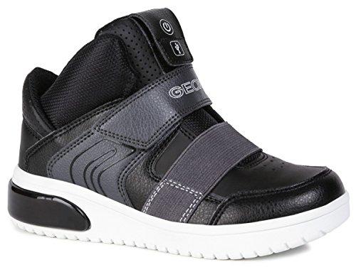 Geox Jungen High-Top Sneaker XLED Boy, Kinder Sneaker,LED Licht Text,Sportschuh,Mid Cut Sneaker,Klettverschluss,atmungsaktiv,SCHWARZ,37 EU / 4 UK