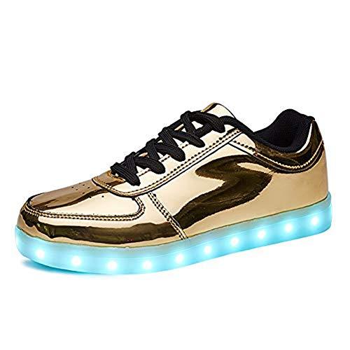 Rojeam Unisex Erwachsene LED Schuhe Sportschuhe USB Lade Outdoor Leichtathletik Beiläufige Paare Schuhe Sneaker Gold 43 EU