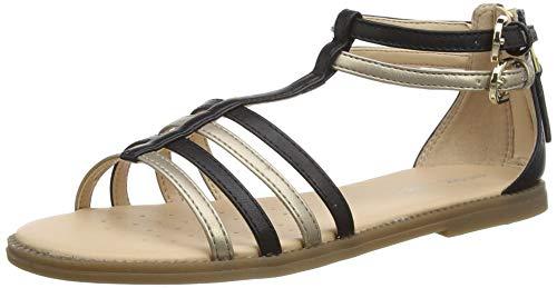 Geox Mädchen J Sandal Karly Girl D Römersandalen, Gold (Black/Platinum C0531), 35 EU