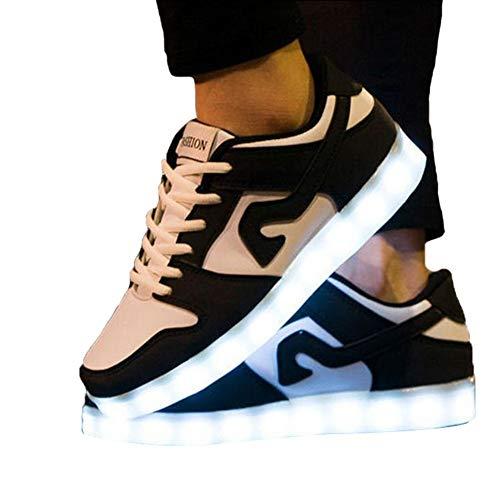 ZYDJ XZ Unisex LED Schuhe,USB Aufladen Leuchtschuhe,7 Farbe Leuchtende LED Leuchtende Blinkende Low-top Sneaker,Light Up Low Top Sneakers