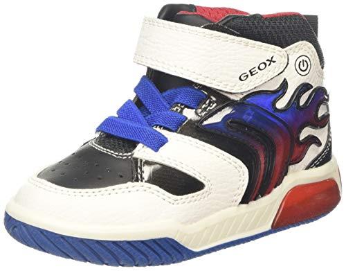Geox Jungen J INEK Boy C Hohe Sneaker, Weiß (White/Royal C0556), 25 EU
