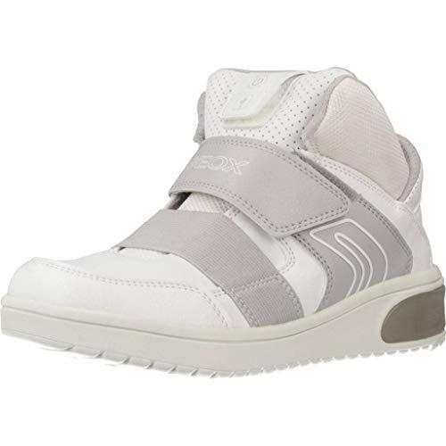 Geox XLED J847QA Jungen High-Top Sneaker,Kinder Stiefel,Sportschuh,Klettschuh,Sneaker-Stiefel,mid Cut, Doppelklett-Verschluss,Blinklicht,LED,Licht,White,EU 38
