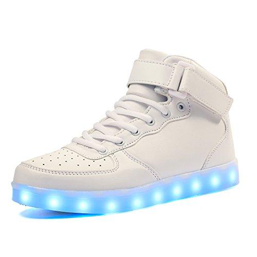 Voovix Kinder High-top LED Licht Blinkt Sneaker mit Fernbedienung-USB Aufladen Led Schuhe für Jungen und Mädchen (Weiß, EU36/CN36)