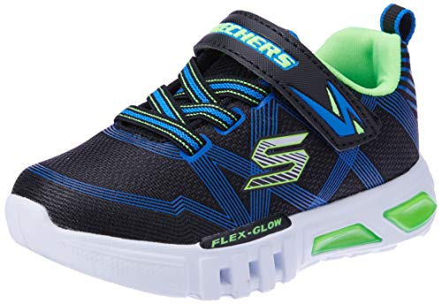 Skechers Boys' Flex-Glow Trainers, Black (Black Blue Lime Bblm), 11.5 UK 29 EU