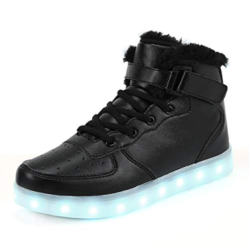 FLARUT 7 Farben LED Schuhe USB Aufladen Leuchtschuhe Licht Blinkschuhe Leuchtende Sport Sneaker Light Up Turnschuhe Damen Herren Kinder (36 EU, Schwarzes Fell)